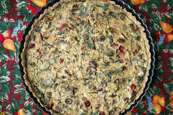 healthy holiday meals - cranberry spinah tart