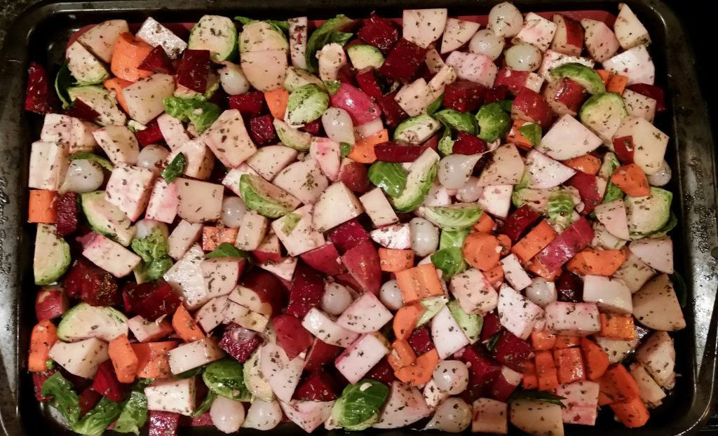 Roasted vegetables are another great thing to batch bake - they keep well and you can reheat and use them throughout the course of a week.