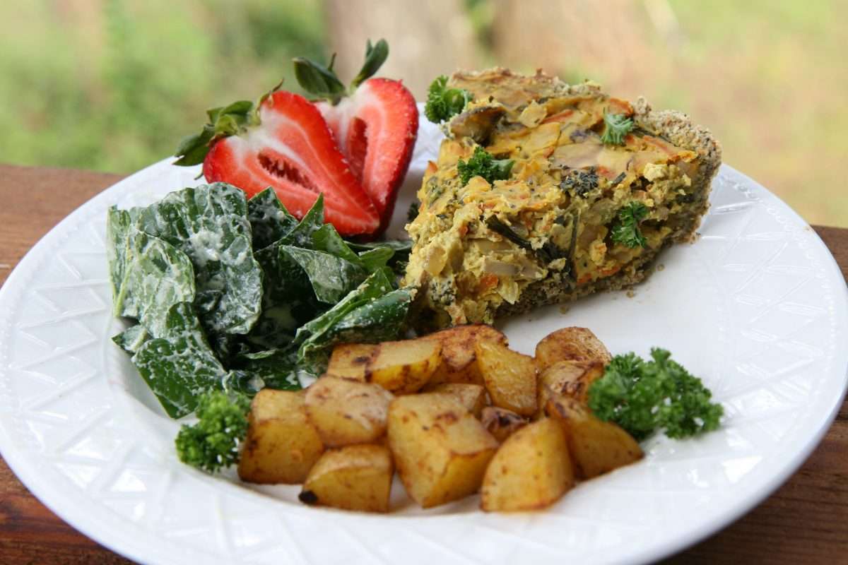 Cheesy Vegan Quiche Featuring Local Garden Treats